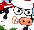משחק עם פרות בסגנון אנגרי בירדס... לחצו על העכבר רצוף כדי לרוץ ותפסיקו ללחוץ כדי לקפוץ, נסו לפגוע בהם ולהוציא אותם מחוץ למעגל.